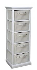 Bizzotto Gaelle Chest of Drawers with 5 Drawers, MDF/Polyester/Cotton, Black