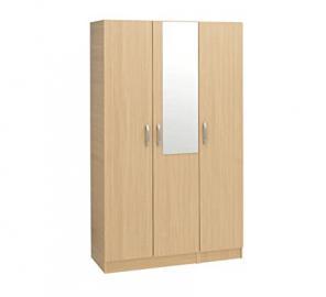 Treat Your Home Ballero 3 Door Plus Mirror Wardrobe, Wood, Beech
