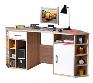 VastoCORNER OFFICE WITH SHELVES AND DRAWERS - LAMINATE OAK/WHITE FINISH. SIZE 181x66,5x78H. ARTICLE IN KIT. OAK/WHITE MELAMINE.