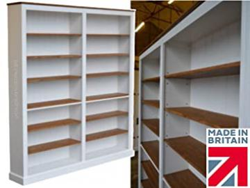 100% Solid Wood Bookcase, 7ft x 6ft White Painted & Waxed Contrasting Adjustable Storage, Library Shelving Unit, Bookshelves (BK76B-P)