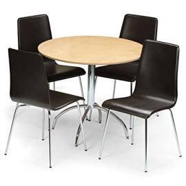 Julian Bowen Mandy Round 4 Seater Kitchen, Dining Table Set, Maple & Brown