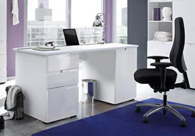 Cellini Large White Gloss Computer Desk Office Workstation S15 by furniturefactor
