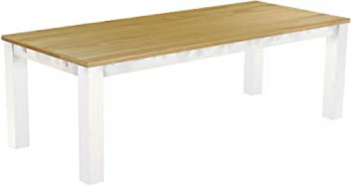 'RIO' 240x 100cm Solid Wood Dining Table Colour: Brazil Brasil Furniture–White