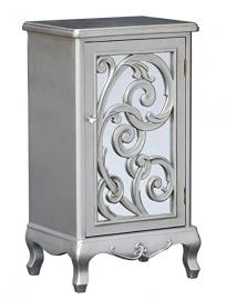 Tall Chest Of Single Door Drawer Bedroom Furniture Decor In Silver
