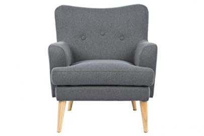 Lounger Chair Retro 78 x 32  x 84 Fabric Upholstered Chair with Armrests Grey Scandinavian Design Padded Chair Vintage