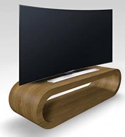 Retro Style Hoop Design Large Pippy Oak Matt TV Stand / Cabinet 110cm