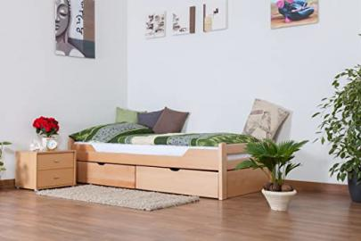"Single bed / functional bed ""Easy Sleep"" K1/1n includes 2 drawers and 2 privacy screens, 90 x 200 cm solid, natural beech wood"