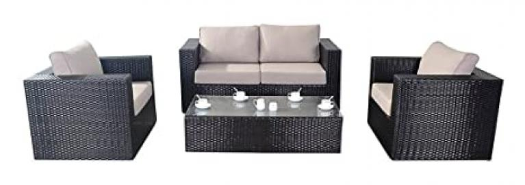 Port Royal Luxe Rattan Garden Furniture Sofa Set - Brown