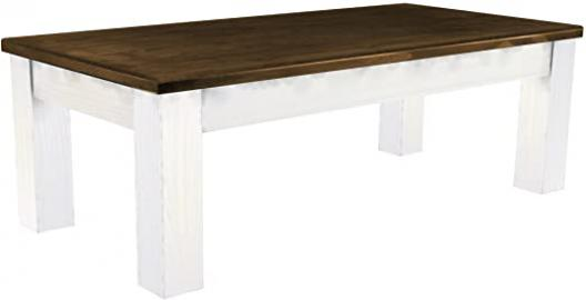 Coffee Table Pine Solid Wood Table 115 x 56 cm, White / Antique Oak