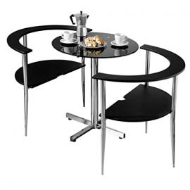 Protege Homeware Black Tempered Glass Table Top Chrome Finish Frame Love Dining Set