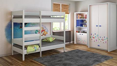 Bunk Beds - Kids Children Juniors Single 140x70, 160x80, 180x80, 180x90, 200x90, with 10cm Foam Mattress but No Drawers Included Ladder on the Front (Long Edge) (160x80, White)