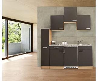 Respekta Kitchen Unit Grey / Beech / 180 cm / 150 cm + 30 cm Pull-Out Larder