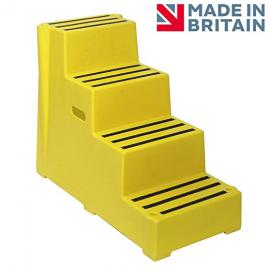 4 Tread Heavy Duty Yellow Plastic Moulded Safety Block Steps