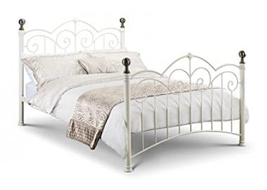 Isabel Stone White/Brass Bed 150cm Classic Style Metal Bed Frame