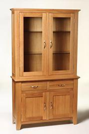 Camberley Oak Medium Dresser Display Cabinet in Light Oak Finish | Solid Wood Wide Storage Cupboard