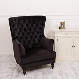 Luxury Black Back Buttoned Winged Armchair, Stunning Chair, Excellent Quality, Amazing Piece! Great for a home office, living area or bedroom! H113 X W92 x D 91cm