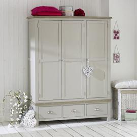 Grey Stone Painted 2 Door 2 Drawer Wardrobe with Oak Top