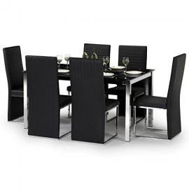 Julian Bowen Tempo Glass 6 Seater Kitchen Dining Table Set, Glass & Chrome