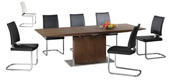 Berkeley Extending - Walnut Wood Veneer Table Top with steel base - 6 PU Leather Chrome Chairs in White