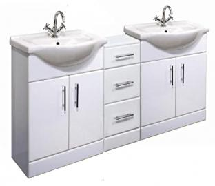 1600mm High Gloss White Bathroom Furniture Set - 2 x Vanity Basin Cabinet Units & Cupboard Drawer
