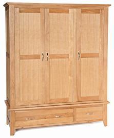 Camberley Oak 2 Drawer Triple Full Hanging Wardrobe in Light Oak Finish | Wooden Robe