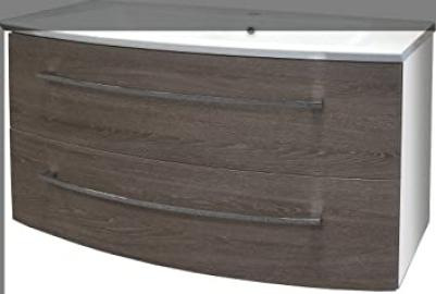 Fackelmann Rondo A Base Cabinet High-Gloss White/Oak Cognac/Bathroom Furniture