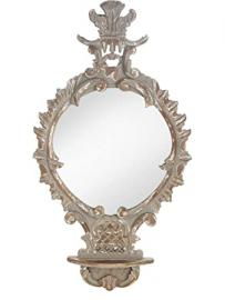 Karlsbach Mirror with Wall Bracket, Glass, Antique Grey