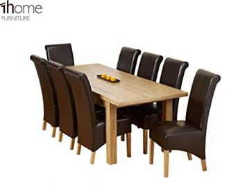 1home Dining Table Set 100% Solid Oak Double Extending Table 180cm to 225cm to 270cm (Table with 8 Chairs)