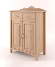 Drawer Storage Cabinet Pirol 68, solid beech wood, clear finish - W92 x H118,50 x D42 cm