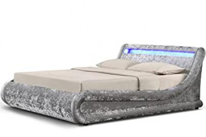 MADRID CRUSHED SILVER LED OTTOMAN DOUBLE