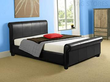 New 6ft Super King Size Black Modern Faux Leather Sleigh Scroll Bed Frame RRP £599