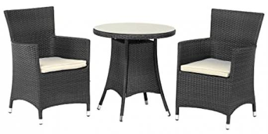 Royalcraft Cannes Ebony Black Fixed Bistro Wicker Set including cushions