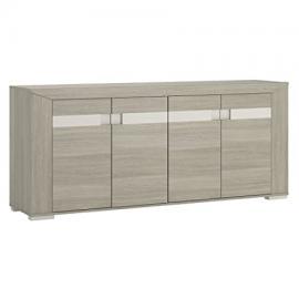 Furniture To Go Madras Extra-Wide 4-Door Sideboard with Melamine, 190 x 82 x 43 cm, Latte Oak