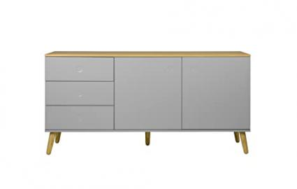 Tenzo Dot Designer Sideboard, Chipboard and MDF, Grey/Oak, 79 x 162 x 43 cm