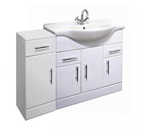 1100mm White Gloss Bathroom Furniture Set - Vanity Basin Unit & Cupboard Drawer
