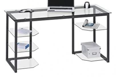 Maja Alaska Home Office Desk - Clear Glass and Anthracite Finish