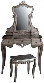 Shabby Chic Tiffany Dressing Table With Mirror & Stool Silver Painted & Carved Pd Global Pls022