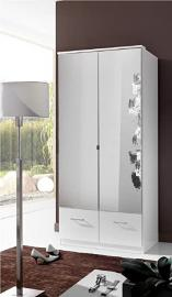 Germanica IMAGE 2 Door mirrored Bedroom Wardrobe With Drawer Storage in WHITE Colour
