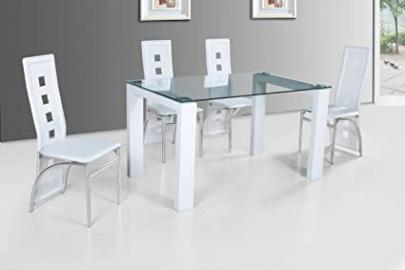 Finchley Rectangular Glass Dining Table with White Gloss Legs 4 Chairs in White Pvc Leather