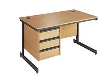 Minuet 1786 Straight Desk with Cantilver Frame with 3 Drawer Fixed Pedestal - Beech