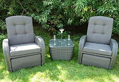 Rattan 3 Piece Rocking and Reclining Mixed Brown Bellevue Set