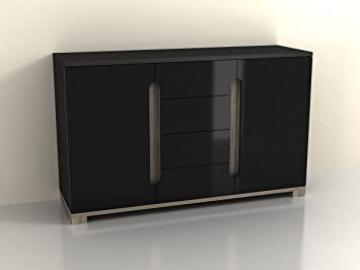 Lorenz Sideboard High Gloss Black 2 Door / 4 Drawer (P980LS 46) by furniturefactor