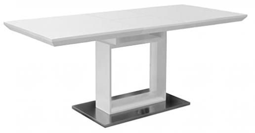 High Gloss White Extending Dining Table - Extending White Top and Stainless Steel Base