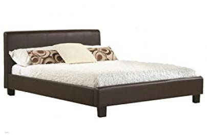 New 5ft King Size Modern Designer Brown Faux Leather Bed Frame RRP £499
