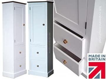100% Solid Wood Storage Cabinet, 172cm Tall White Painted Cupboard, Pantry, Larder, Linen or Bathroom Unit with Drawers. No flat packs, No assembly (CP09-P)