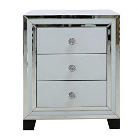 Manhattan White Modern Elegant Bedside Table 3 Drawer Mirrored Cabinet Furniture