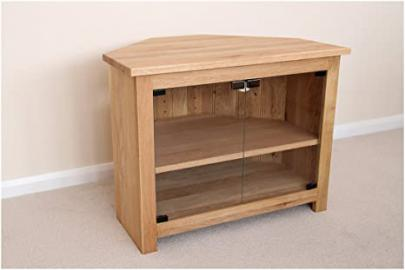 Oak Corner TV unit with glass doors, stand or cabinet, 1000mm with adjustable shelf, ideal for the lounge or living room