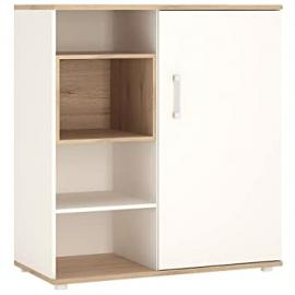 Furniture To Go 4Kids Low Cabinet with Shelves Sliding Door, Wood, White Gloss/Light Oak