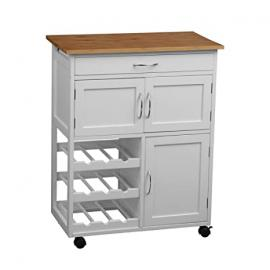Protege Homeware White/Bamboo Top Kitchen Trolley
