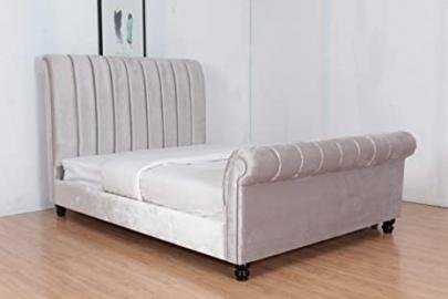 4FT6 DOUBLE PLUSH VELVET UPHOLSTERED FABRIC BED FRAME IN SILVER
